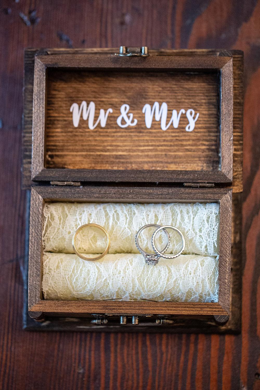 wedding rings in wooden box