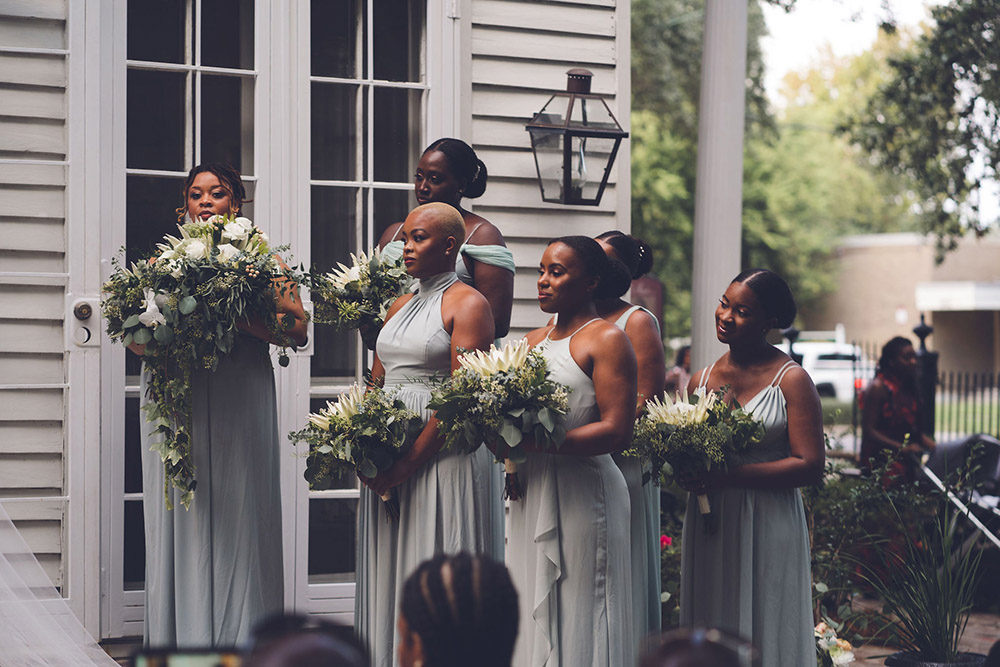 bridesmaids with tropical bouquets