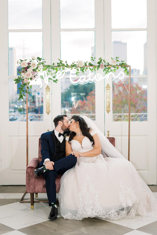 wedding lounge with neon sign