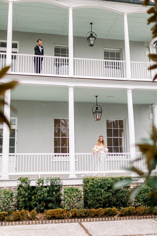 "The Gadsden House's verandas feature traditional ""haint blue"" ceilings and quaint gas lanterns."