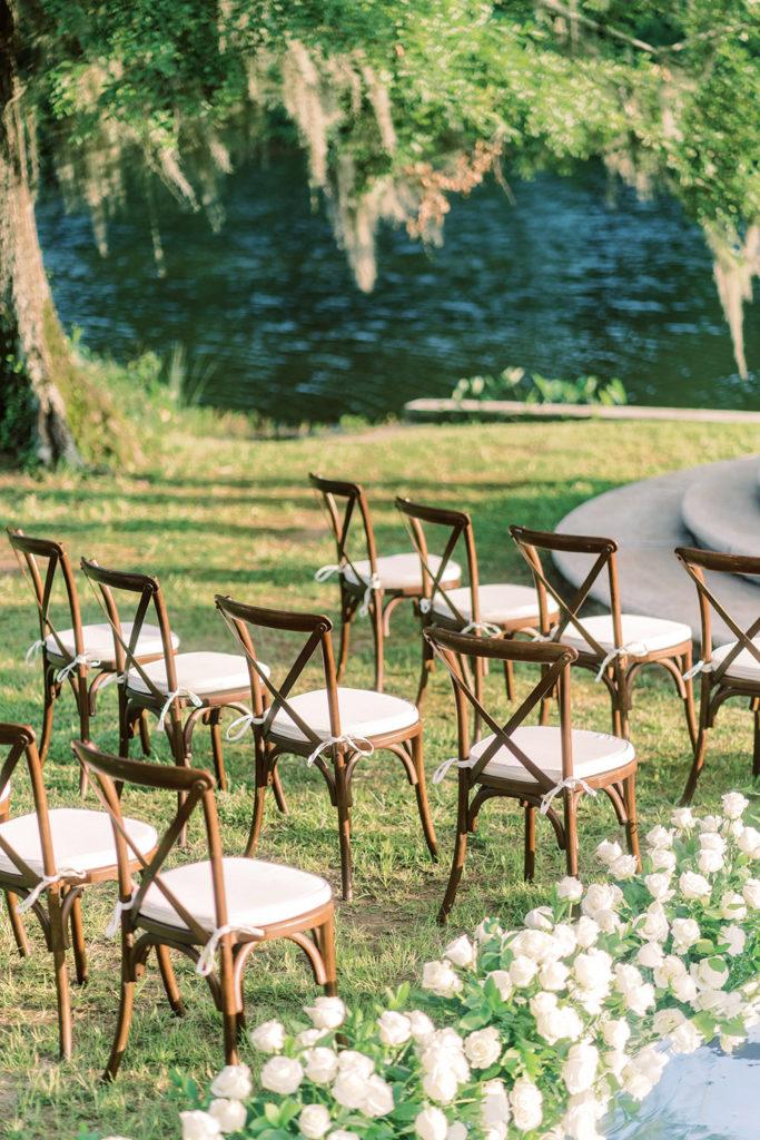 Walnut X-Back Chairs for wedding