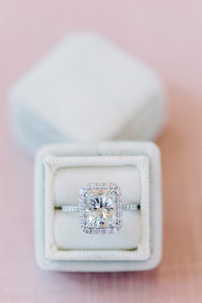 4.82 CTW Radiant Forever One Moissanite Signature Halo with Side Accents Wedding Set in 14K White Gold by Charles & Colvard