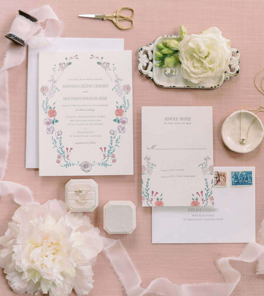 Letter press wedding invitation and moissanite jewelry