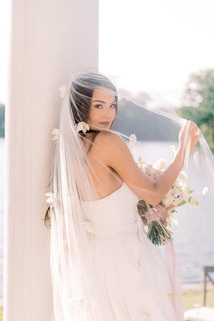 Bridal Veil with Fresh Flowers