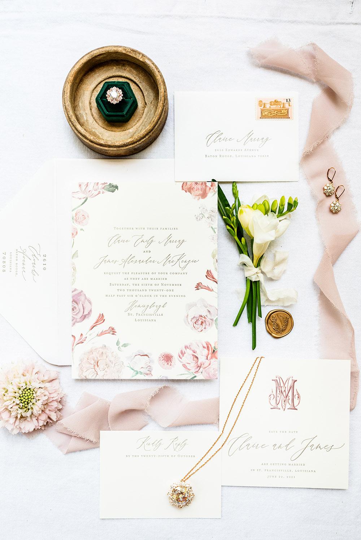 Letterpress wedding invitations and moissanite jewelry