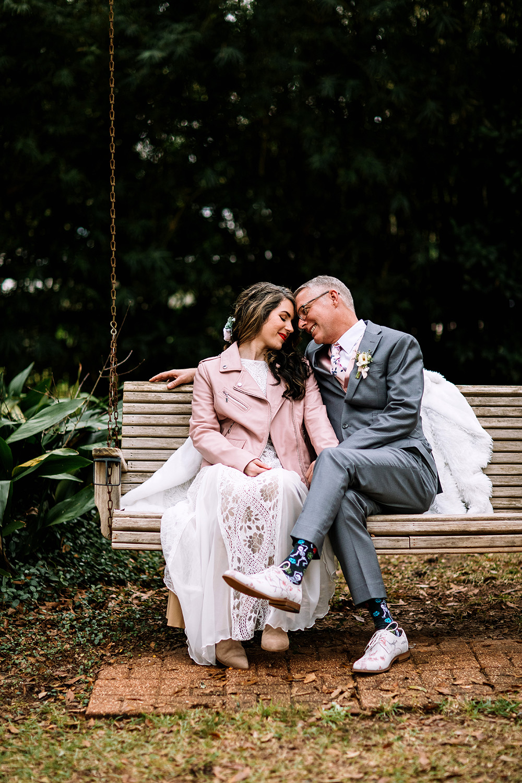 Bride and groom portrait fall wedding