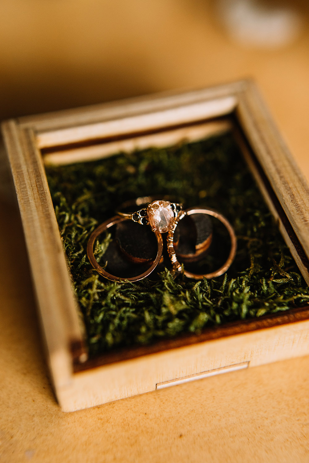 wedding rings in a wooden box