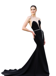 Crepe Strapless Deep-V Crystal Embellished Gown by Christian Siriano