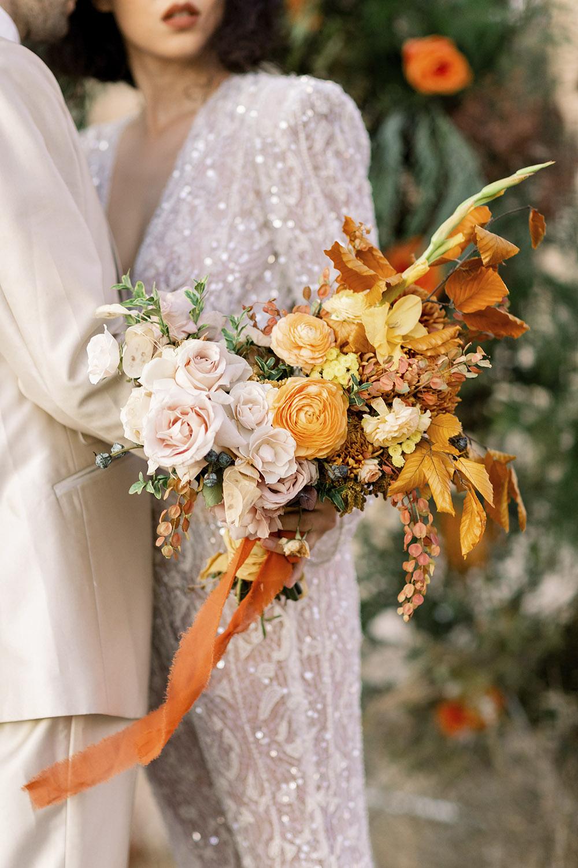 orange, yellow and copper bridal bouquet