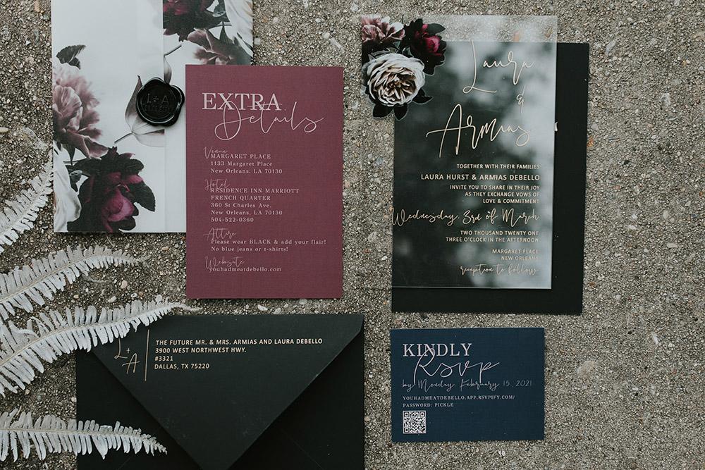 Burgundy and black floral wedding invitation; acrylic wedding invitation