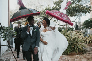 Wedding Second Line with Red and Black Umbrellas